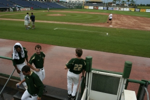 The USF baseball emerges from the dugout after waiting out a three hour rain delay. ORACLE PHOTO/DAVID DOWNS